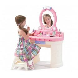 STEP2 Toaletka dla dziewczynki z bezpiecznym lustrem z oświetleniem biała różowa + krzesełko